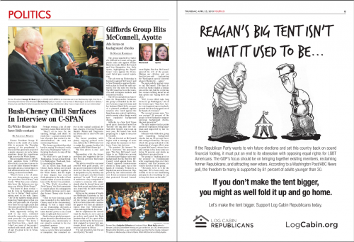 Log Cabin Republican ad appearing in Politico's E-Edition 4-25-13