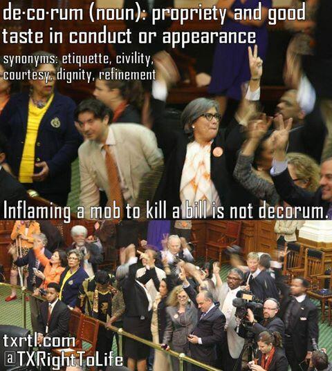Rep. Jessica Farrar inciting a riot in the Texas Senate chamber.