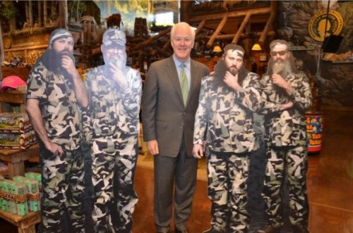 john cornyn with duck dynasty cutouts