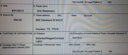Eric Weidmann on Roy Morales' campaign finance report - note address.