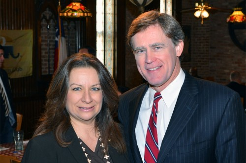 Downtown Houston Pachyderm Club President Sophia Mafrige with Rep. Dan Branch