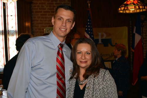 Ag Commissioner candidate J. Allen Carnes with Downtown Houston Pachyderm Club President Sophia Mafrige