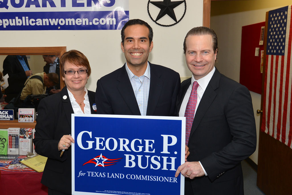 Tammie Nielson George P Bush Jared Woodfill  George P Bush kicks off  statewide bus tour. Jared Woodfill