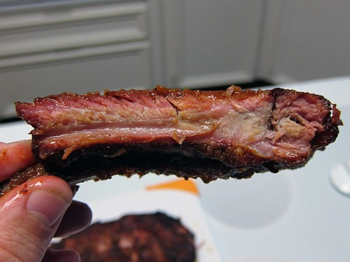 Finished middle rib, very meaty, moist, and great smoke ring.