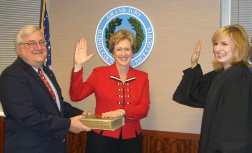 Judge Devon Anderson swears in Patricia Pollard to the Texas State University System Board of Regents