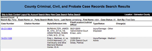 Galveston County District Clerk screenshot with two lawsuits