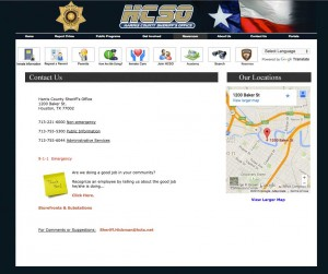 Harris County Sheriff Contact page with LGBTI Liaison information removed