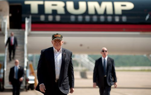 MOON TOWNSHIP, PA - JUNE 11: Republican candidate for President Donald Trump arrives in his plane to speak to supporters at a rally at Atlantic Aviation on June 11, 2016 in Moon Township, Pennsylvania. (Photo by Jeff Swensen/Getty Images)