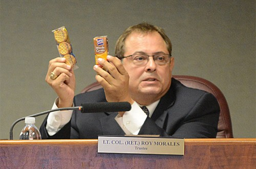 Lt. Col. (Ret.) Roy Morales and his whole grain cheese crackers.