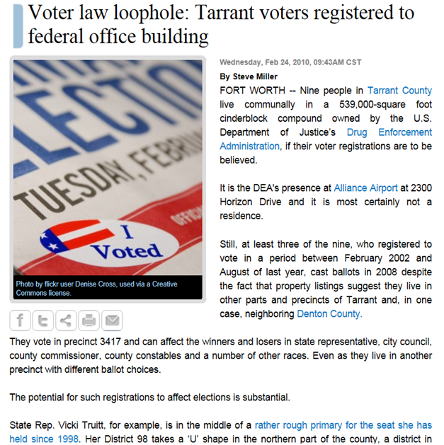 Texas Watchdog article on Voter Law Loophole