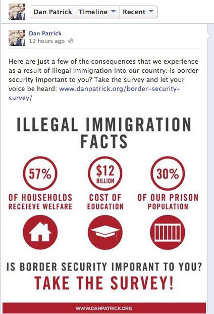 screenshot of Sen Dan Patrick's Facebook page
