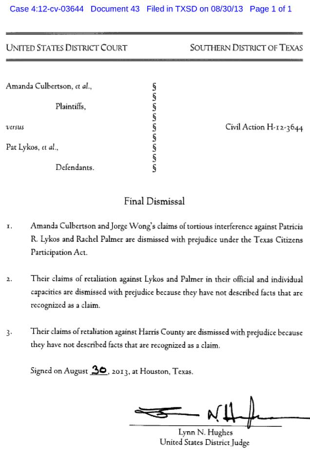 Palmer Lykos Dismissal