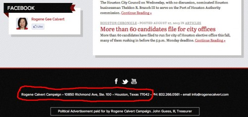 rogene calvert campaign address