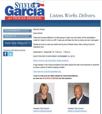 Sylvia Garcia emails her support for Brenda Stardig