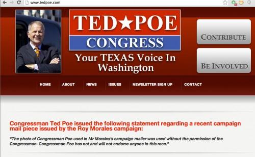 Ted Poe website - NOT endorsing Roy Morales