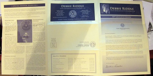Outside of Rep. Debbie Riddle constituent newsletter.