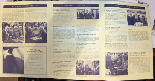Inside of Rep. Debbie Riddle constituent newsletter.