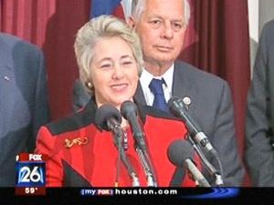 Houston Mayor Annise Parker in her red Klingon jacket