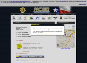 Harris County Sheriff Contact page with LGBTI popup information