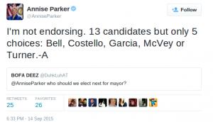 Screenshot of Annise Parker tweet