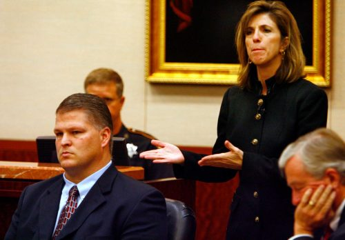 Harris County prosecutor Kelly Siegler gestures towards defendant David Temple during his 2007 murder trial in this Chronicle file photo.