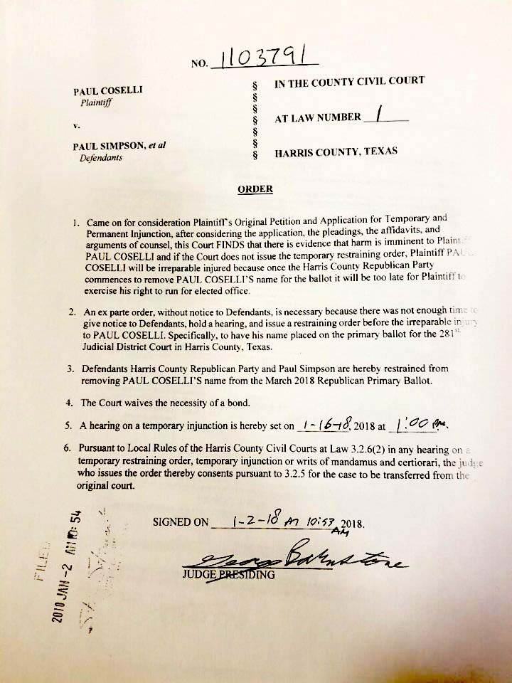 Attorney Eric Dick Was Able To Obtain A Temporary Restraining Order Keep Mr Coselli On The Ballot Perhaps